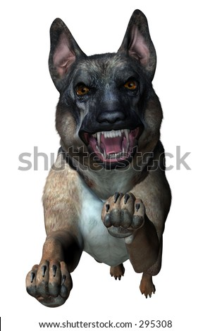 German Shepherd Attacks - 3D Render