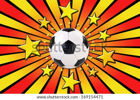 german soccer background with stars and soccer ball, black, red, gold - stock photo