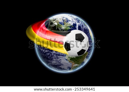 German soccer ball in space - earth texture by NASA.gov - stock photo