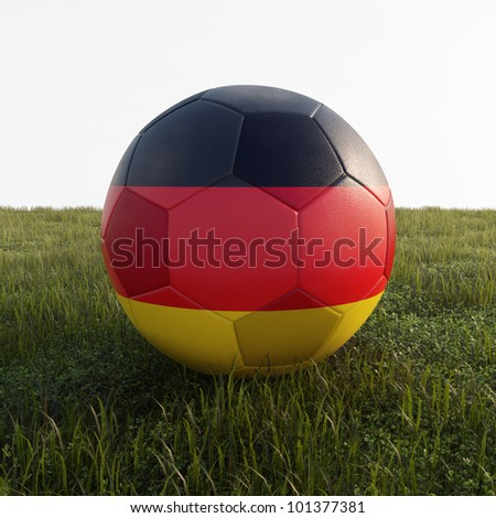 german soccer ball isolated on grass - stock photo