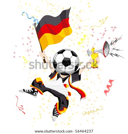 German Soccer Fan with Ball Head. - stock photo