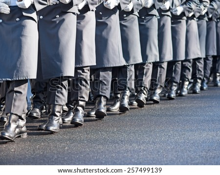 German soldiers of the guard regiment marching - stock photo