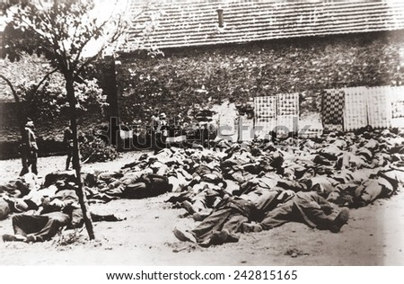 German soldiers standing by corpses after mass execution of all the men in Lidice, Czechoslovakia, June 1942. In retaliation for the assassination of Reichsfurher Heydrich Reinhard. June 1942. - stock photo