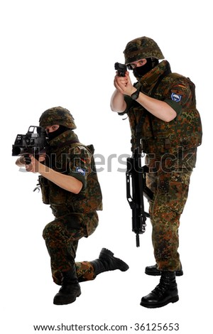 German soldiers with the weapon - stock photo
