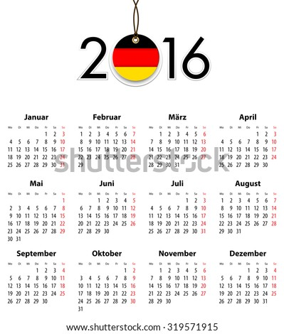 German Solid calendar for 2016 with flag like tag. Mondays first - stock photo