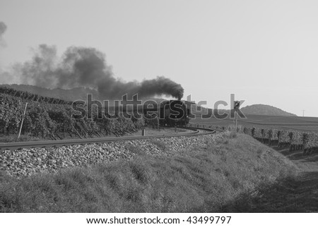 German steam train the engine was built in 1937 by Esslingen and is number 4312. - stock photo