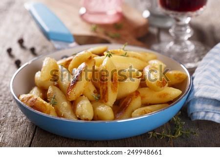 German style potato gnocchi with fresh thyme - stock photo