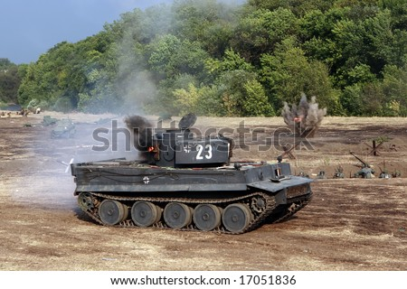 """German tank. Military - historical reconstruction """" Break of Mius-front 1943 """" organized by the Military - historical Don museum in August 2008 near Taganrog, Russia - stock photo"""