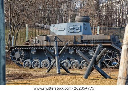 German tank since World War II and anti-tank - stock photo