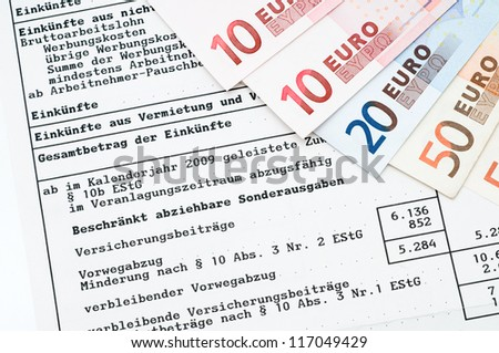 German tax bill in a studio shot, here the insurance premium Note for inspector: Official from of the German government, no copyright, no personal informations