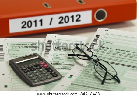 german tax for 2011 and 2012 - stock photo