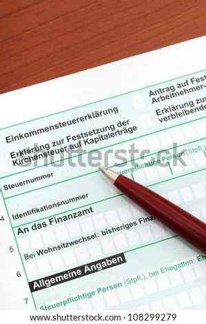 German tax form in front of a white background (official form of the government, no copyright)