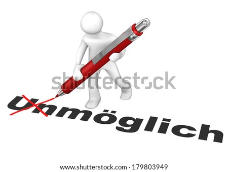 German text unmoeglich, translate impossible. White cartoon character makes impossible possible. - stock photo