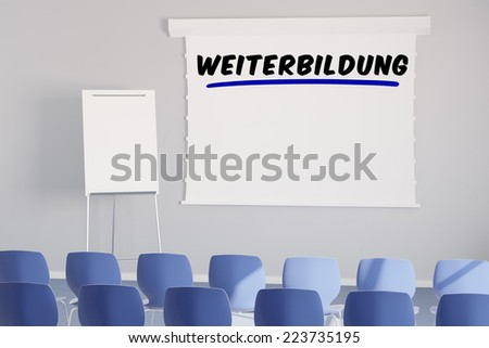 German word Weiterbildung (further learning) on a presentation canvas in meeting room - stock photo