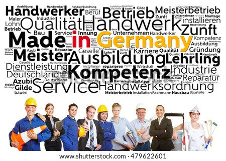 German workers from different professions with made in Germany tag cloud