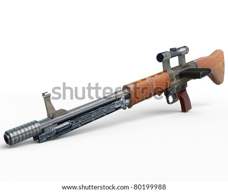 german ww2 assault rifle fg42 isolated over white (lowpoly gamedev object) - stock photo