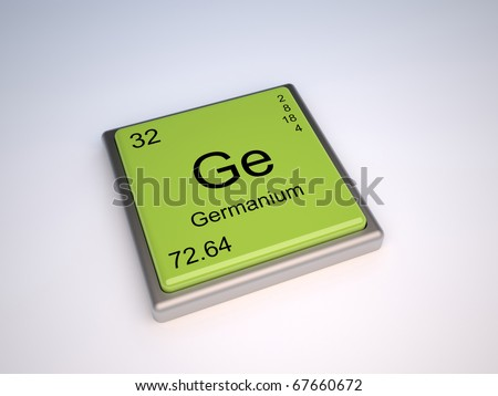Germanium chemical element of the periodic table with symbol Ge - stock photo