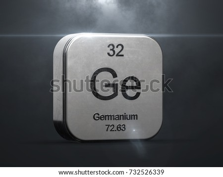 Germanium element from the periodic table. Metallic icon 3D rendered with nice lens flare 3D render