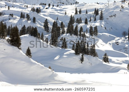 Germany Alps, mountain range covered in snow, winter - stock photo