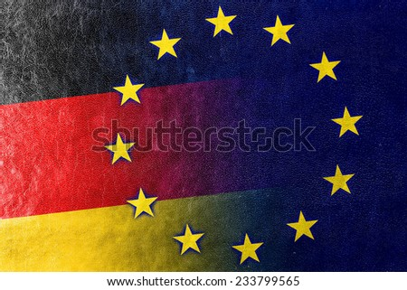 Germany and European Union Flag painted on leather texture - stock photo