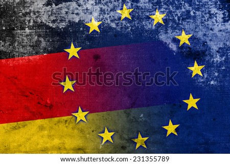 Germany and European Union Flag with a vintage and old look - stock photo