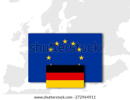 Germany and European Union Flag with Europe map background - stock photo
