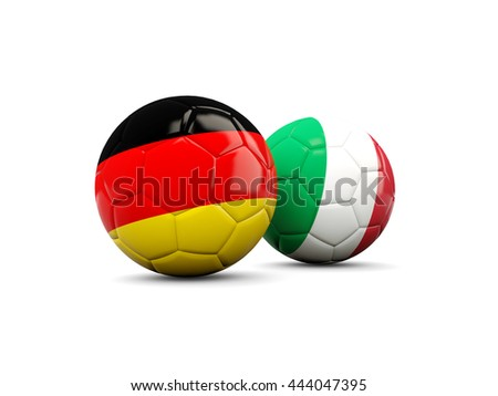 Germany and Italy soccer balls isolated on white. 3D illustration - stock photo