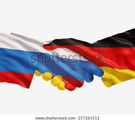 Germany and Russia reach out their hands - stock photo