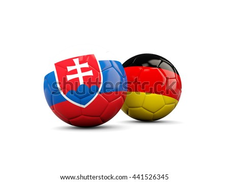 Germany and Slovakia soccer balls isolated on white. 3D illustration - stock photo
