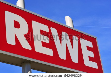 GERMANY-APRIL 21: REWWE supermarket logo on April 21,2015 in Germany.REWE Group is a German diversified retail and tourism group based in Germany.