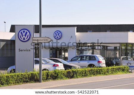 GERMANY-APRIL 21:Volkswagen car showroom and service  on April 21,20015 in Germany. Volkswagen is a German automobile manufacturer headquartered in Wolfsburg, Lower Saxony, Germany.