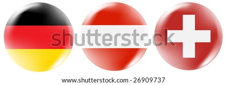 Germany, Austria, Swiss flag buttons - stock photo