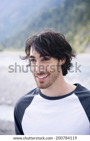 Germany Bavaria outdoors young man smiling - stock photo