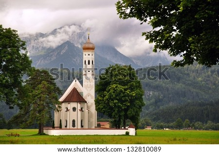 Germany, Bavaria, the Alps,Cathedral, Christianity. faith, religion, historical, travel,mountain peaks, sunny day in August