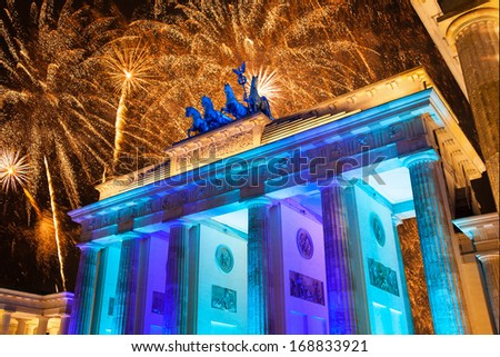 Germany, Berlin, Brandenburg Gate, Fireworks at New year�´s Eve - stock photo