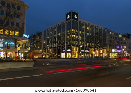 Germany, Berlin, February 18, 2013 . Evening view shopping street