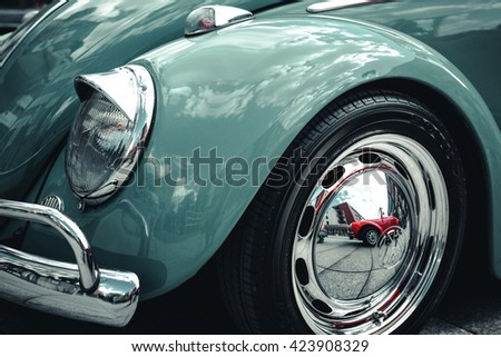 GERMANY, BOCHUM, MAY 07, 2016. Vintage retro blue old classic car. - stock photo