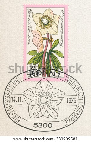 GERMANY - CIRCA 1975: A  first day of issue postmark printed in Germany, shows Christmas rose or black hellebore(Helleborus niger), Series Alpine Flowers, circa 1975 - stock photo