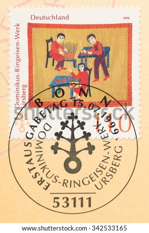 GERMANY - CIRCA 1999: A  first day of issue postmark printed in Germany, shows Dominikus-Ringeisen Institution, Ursberg, 115th Anniv., circa 1999 - stock photo