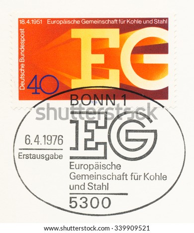 GERMANY - CIRCA 1976: A  first day of issue postmark printed in Germany, shows EG, European Coal and Steel Community, 25th anniversary, circa 1976 - stock photo