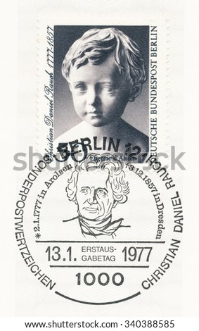 GERMANY - CIRCA 1977: A  first day of issue postmark printed in Germany, shows Eugenie d'Alton by Christian Daniel Rausch (1777-1857), sculptor, birth bicentenary, circa 1977 - stock photo