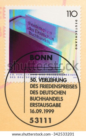 GERMANY - CIRCA 1999: A  first day of issue postmark printed in Germany, shows Federal Association German Book Traders Peace Prize, 50th Anniv., circa 1999 - stock photo