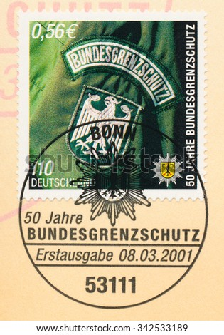 GERMANY - CIRCA 2001: A  first day of issue postmark printed in Germany, shows Federal Border Police, 50th Anniv., circa 2001 - stock photo