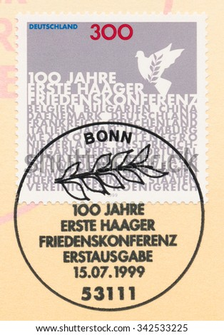 GERMANY - CIRCA 1999: A  first day of issue postmark printed in Germany, shows First Peace Conference in The Hague, Cent., circa 1999 - stock photo
