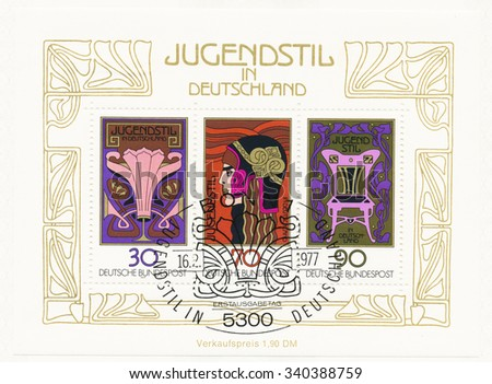 GERMANY - CIRCA 1977: A  first day of issue postmark printed in Germany, shows German Art Nouveau: Floral ornament, Athena, poster by Franz von Stuck, Chair, c. 1902,  circa 1977 - stock photo