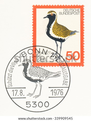 GERMANY - CIRCA 1976: A  first day of issue postmark printed in Germany, shows Golden Plover, circa 1976 - stock photo
