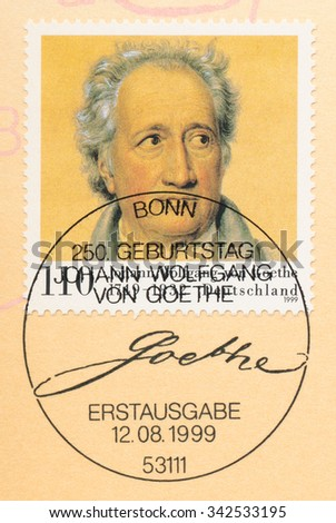 GERMANY - CIRCA 1999: A  first day of issue postmark printed in Germany, shows Johann Wolfgang von Goethe (1749-1832), Poet, circa 1999 - stock photo