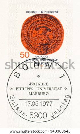 GERMANY - CIRCA 1977: A  first day of issue postmark printed in Germany, shows Landgrave Philipp, Great Seal of University, Marburg University, 450th anniv., circa 1977 - stock photo
