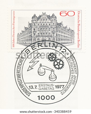 GERMANY - CIRCA 1977: A  first day of issue postmark printed in Germany, shows Patent Office, Berlin-Kreuzberg, circa 1977 - stock photo