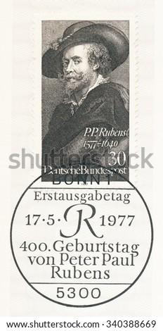GERMANY - CIRCA 1977: A  first day of issue postmark printed in Germany, shows Peter Paul Rubens (1577-1640), Flemish painter, 400th birth anniversary, Self-portrait, circa 1977 - stock photo